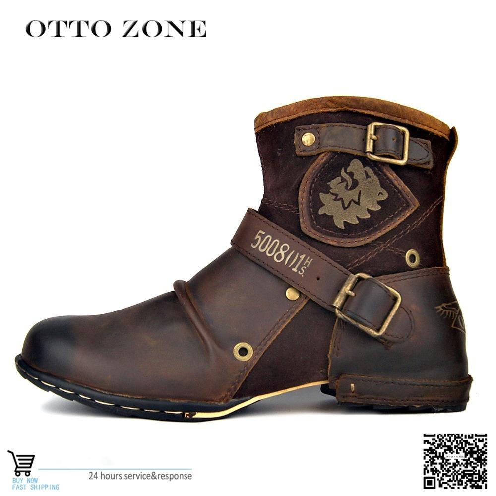 Compre 2019 OTTO ZONE Botas Para Hombre De Otoño   Invierno Martin Botas De  Tobillo Superiores De Cuero De Vaca Genuino Zapatos De Cuero Acolchado De  ... db11b0cb9f0