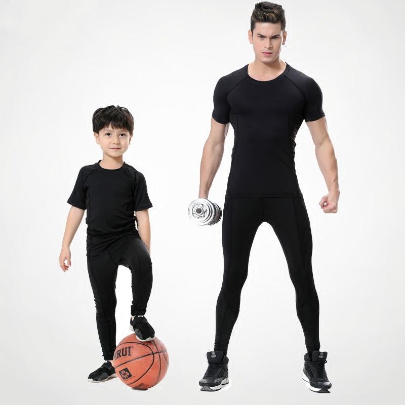 7671a7892 2019 Sport Compression Shirt Suits Fitness Clothes Children Men Quick Dry  Sweat Basketball Jerseys Sport Training Running Sets From Vanilla12, ...