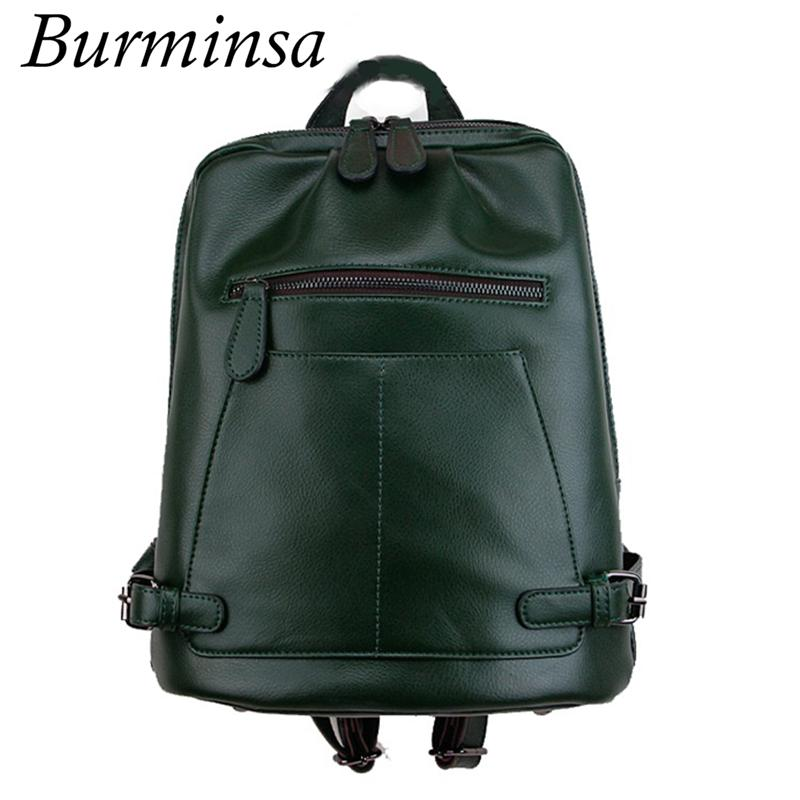 32a261927a Burminsa Brand Preppy Style Genuine Leather Backpack For Teenage ...