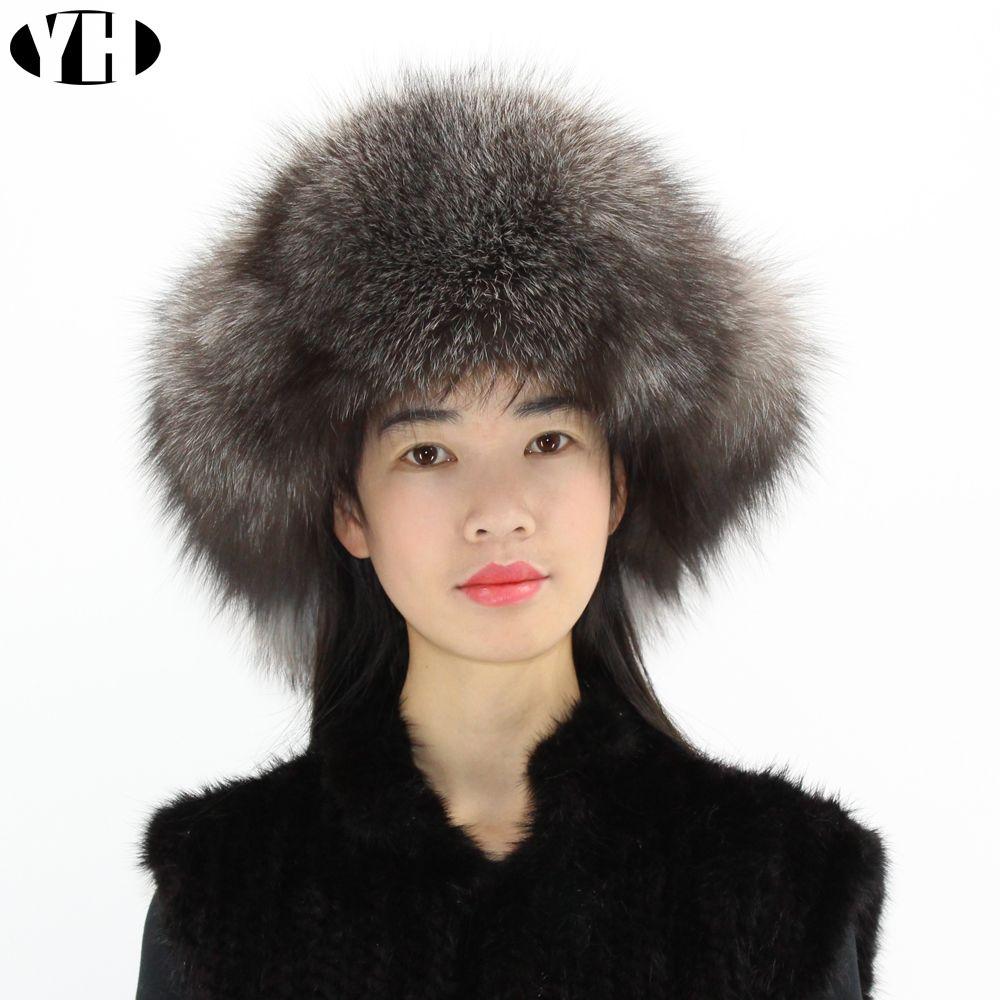 Hot Sale Women Winter Real Fox Fur Ear Hat Warm Fashion Genuine ... 8635cad15540