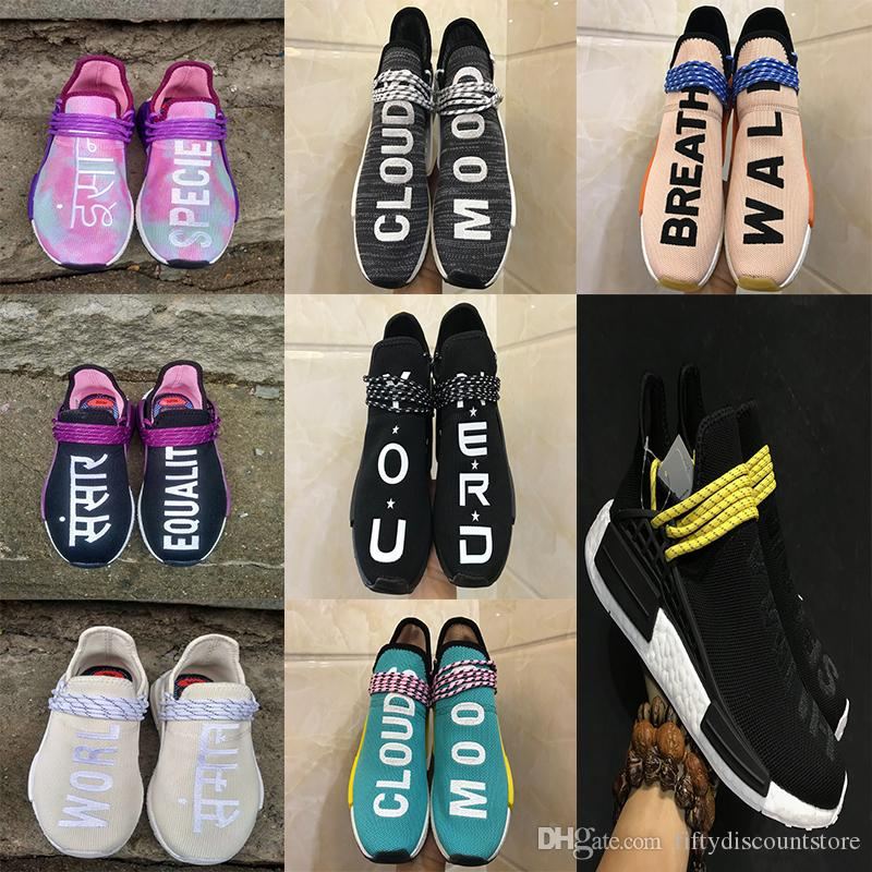 23c55beecef86 2018 New Human Race Trail Running Shoes Core Black Holi Men Women Pharrell  Williams Runner Equality Holi Blank Canvas Sports Trainers Shoe Trail Shoes  Shoes ...