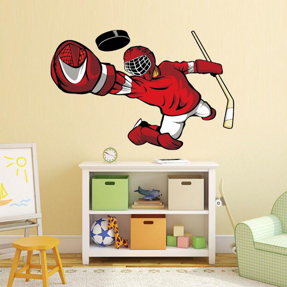 Grosshandel Hockey Player Wand Kunst Aufkleber 3d Sport Poster Jungen
