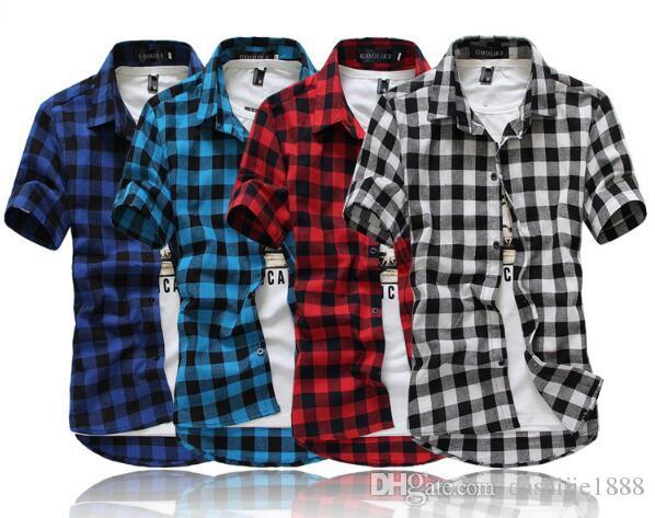 462243fa52ac8 Compre Camisa A Cuadros Roja Y Negra Para Hombre Camisas 2018 Nueva Moda De  Verano Chemise Homme Camisa A Cuadros Para Hombre Camisa De Manga Corta  Para ...