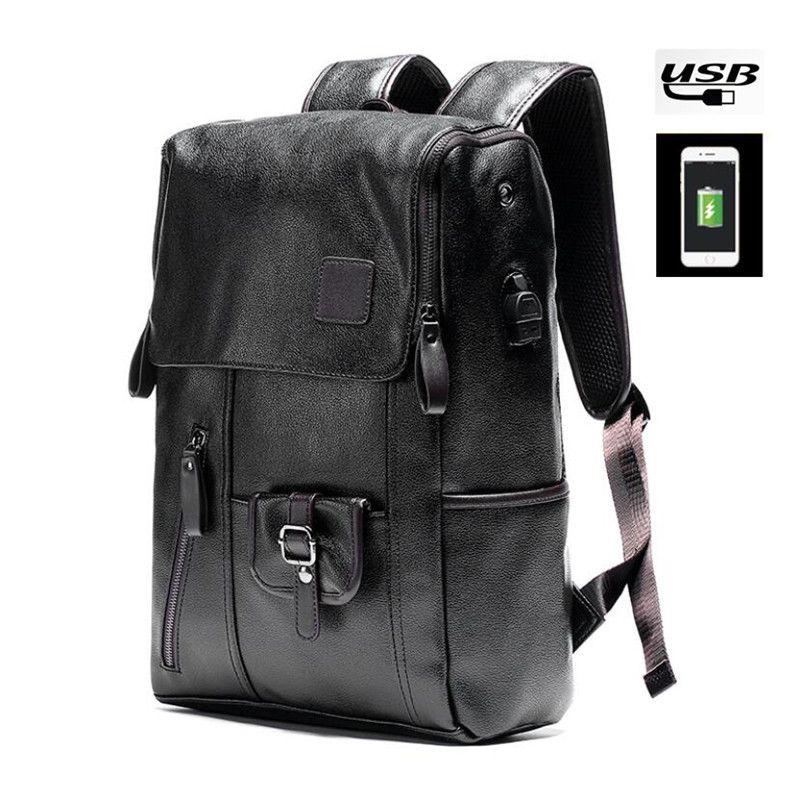 4140f2ccf14 Fashion PU Leather Men Backpack 14 inch Laptop Bag Light-weight Business  Shoulder Bag College School Men Casual Backpack