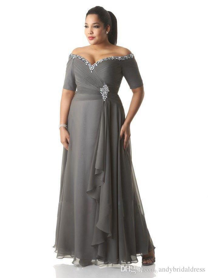 Nach Maß Plus Size Abendkleider Perlen Pailletten Off-Shoulder geraffte Grau Chiffon Abendkleid Mutter der Braut Kleider Knöchel