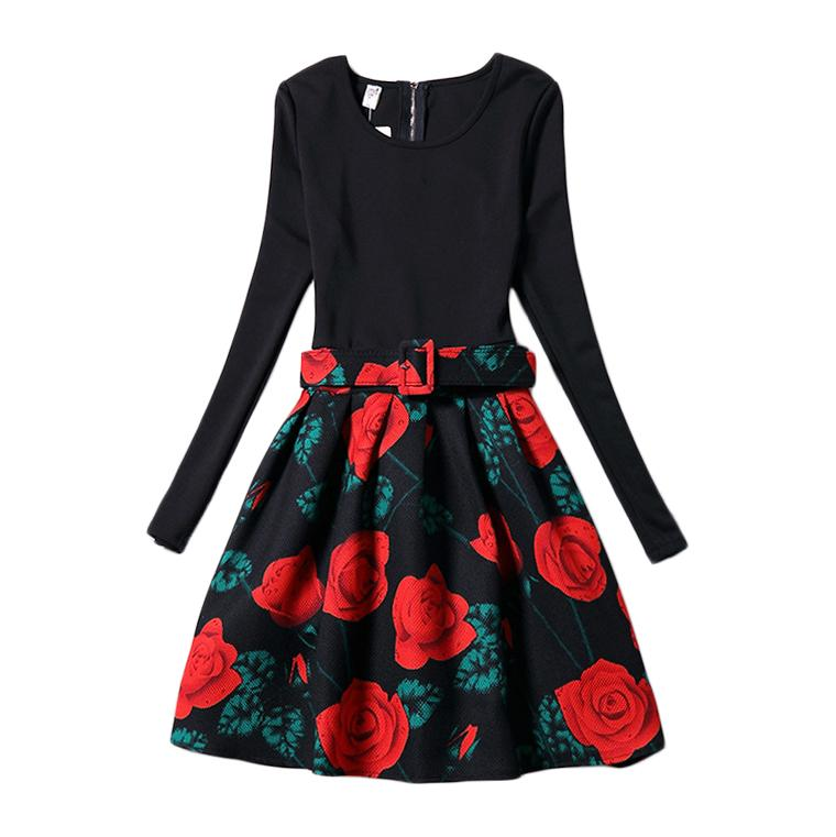 Mother Daughter Dress Black Rose Fashion 2016 Family Matching Outfits Clothing Slim Fit Dresses Long Sleeve 6-12 Years GD100A