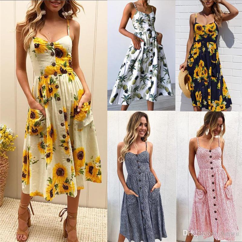 c2da0a035 Compre Mulheres Floral Impresso Listrado Botão Ocasional Verão Cinta Vestido  Longo Boho Praia Bolsos Mulheres Vestido De Verão Vestidos Elegantes Diário  ...