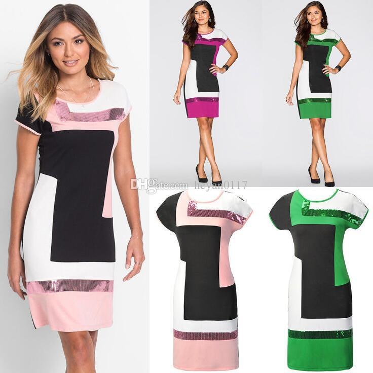 dd1ed10826a 2018 Women Casual Striped Short Dress Cocktail Party Evening Bodycon Mini  Dress Skirt S XL Cute Party Dresses Black Party Dress From Heyan0117