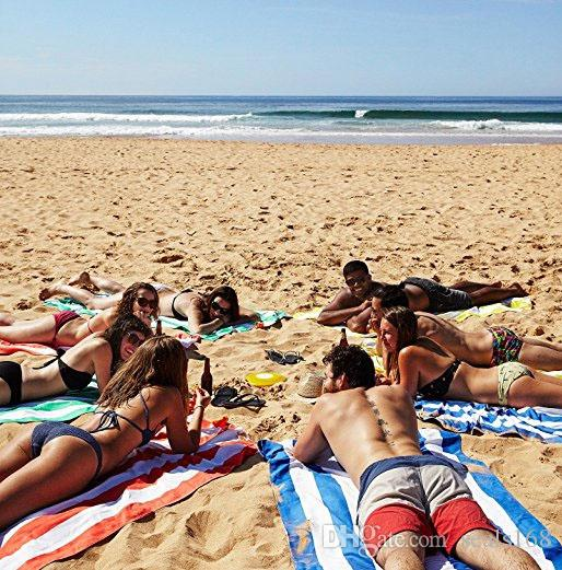 Microfibra Raya Toalla de playa Bolsa suave Toalla de secado rápido para viajes Playa de arena Toalla ligera Para acampar Manta de playa Regalos HH7-452