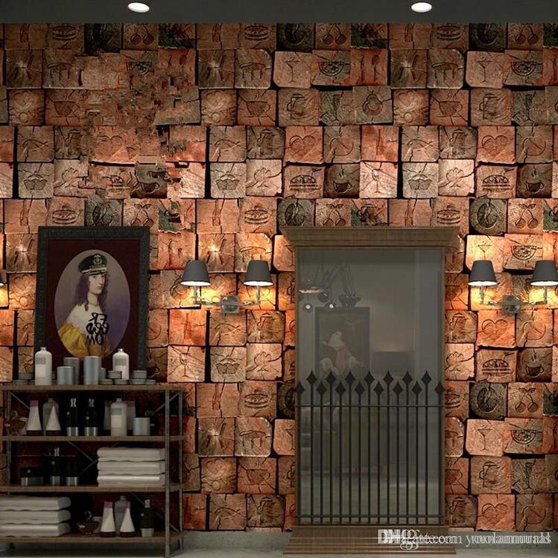 Compre vintage 3d papel tapiz de madera sala de estar for Patron de papel tapiz para sala comedor