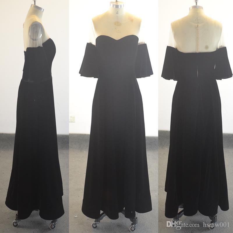 Реальное изображение Черный Бархат короткие линии платья выпускного вечера вечерняя одежда плюс размер длинные сексуальные прозрачные формальные платья выпускного вечера простое вечернее платье