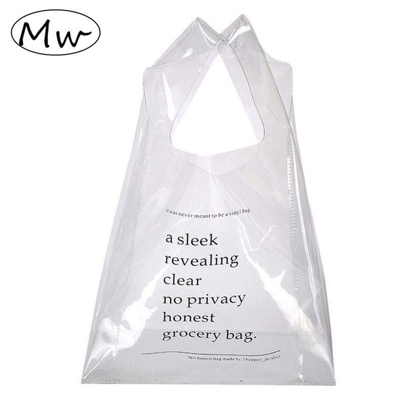 Moon Wood Transparent Handbag Printing Letters Clear Tote Bag Wrist Clutch Summer Beach Bag Pvc Hand Girls Shopping 2018