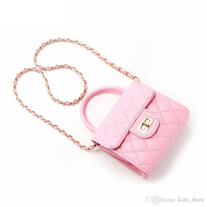 Sacchetti a catena di modo delle neonate Sacchetto mini del messaggero della ragazza dei bambini Borse fatte a mano dei bambini PU le ragazze