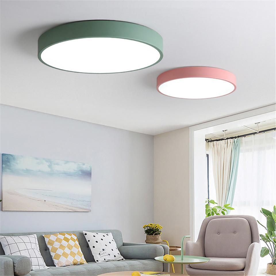 Colorful LED Ceiling Lights Metal Lamshade Kids Room Light Kitchen ...