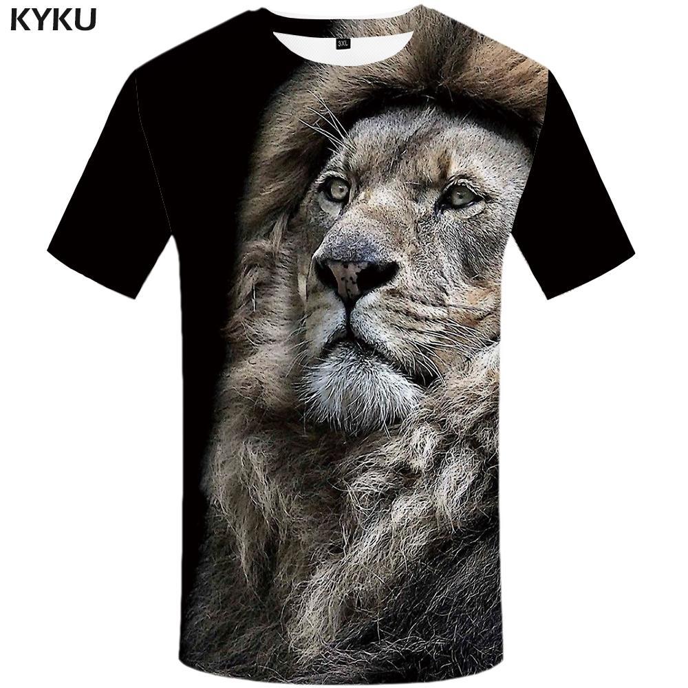 2351cd74 KYKU Brand Lion T Shirt Animal Clothes Sex Funny Tshirt 3d T Shirt Print  Shirts Plus Size Men Man Male Slim Homme But T Shirts T Shirts Funky From  ...