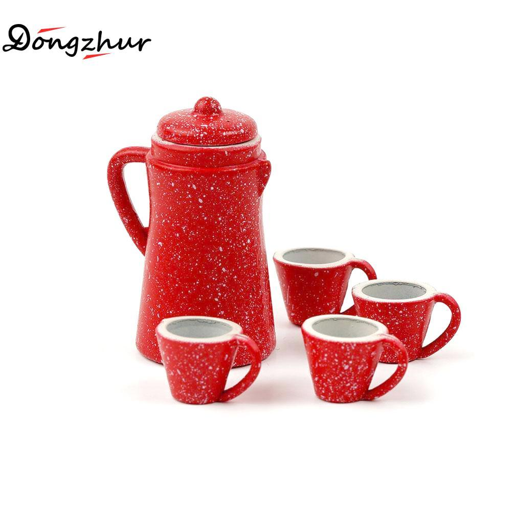 Dongzhur New 5pcs/set Mini Red Kettle Dollhouse Toy Children DIY Kitchen Doll House Miniatures 1:12 1:6 Toy Accessories WWP5213