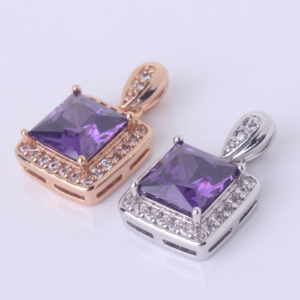 e69d739f88b6 Compre Colgante Púrpura GULICX Princesa CZ Zirconia Joyería Para Mujer  Colgantes De Color Oro Cristal De Cuarzo Colgante Púrpura Collar P003    P004 A  11.74 ...