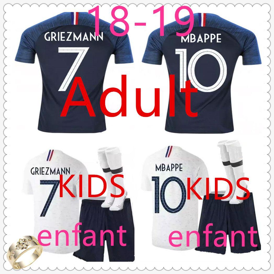 Camiseta France Kids Camiseta De Futbol Mbappe Camisetas De Futbol Home Away  Camisa Para Niños Camiseta France Adult Griezmann Soccer Jersey Football  Jersey ... fd32249e5fb19