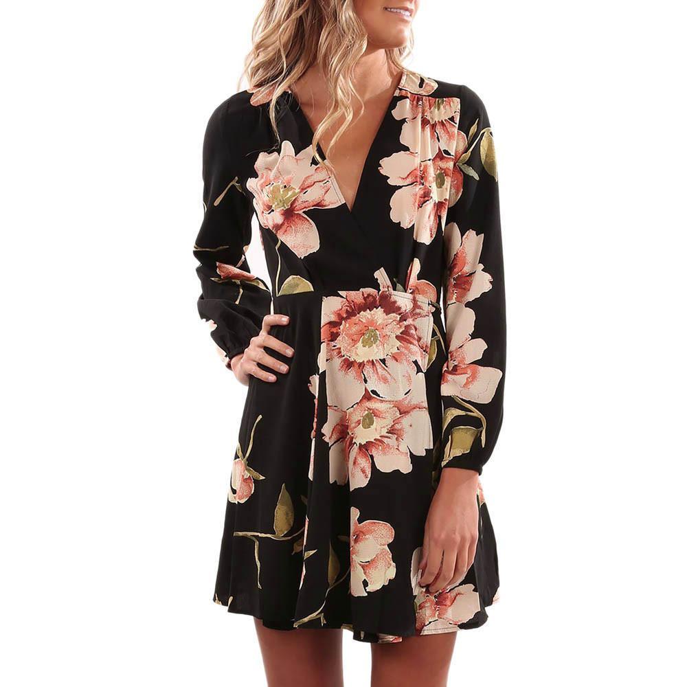abf54d65b3f Women Floral Printed Dress Femininas Vintage Autumn Long Sleeve Mini Dress  Belted Wrap Dresses Vestidos Curtos  EP Cute Black Party Dresses Flower  Summer ...