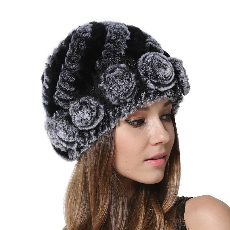 Women Winter Warm Real Fur Caps Girls Knitted Rex Flowers Decoration Hat  Lady Cold Weather Headwear Real Rex Rabbit Fur Beanie Baseball Hats Winter  Hat From ... e792329bca6