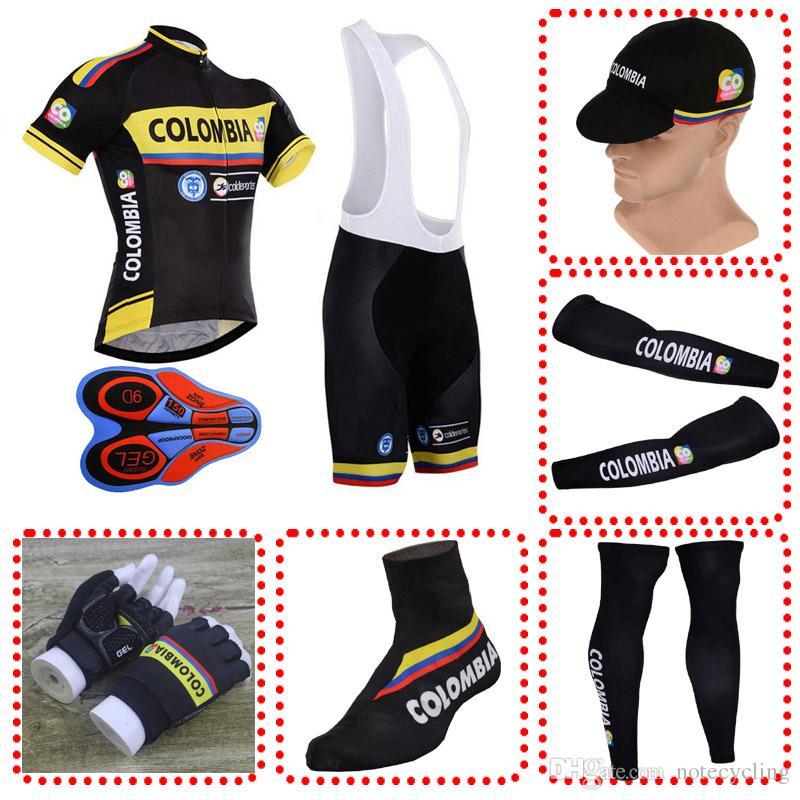 2018 Hot Colombia Team Set Completo Ciclismo Ropa Manga Corta Bicicleta Mtb  Jersey Con Tapa Manga Calentador Pierna Calentador Guantes Cubre 103105Y  Por ... 9ad12f367