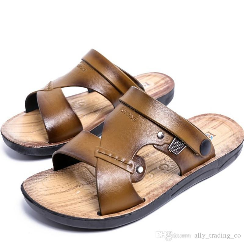 ea8d1887825 Casual Famous Brand 2018 Men Sandals Shoes Slippers Summer Flip Flops Beach  Men Shoes Leather Sandalias Zapatos Hombre Womens Boots Work Boots From ...