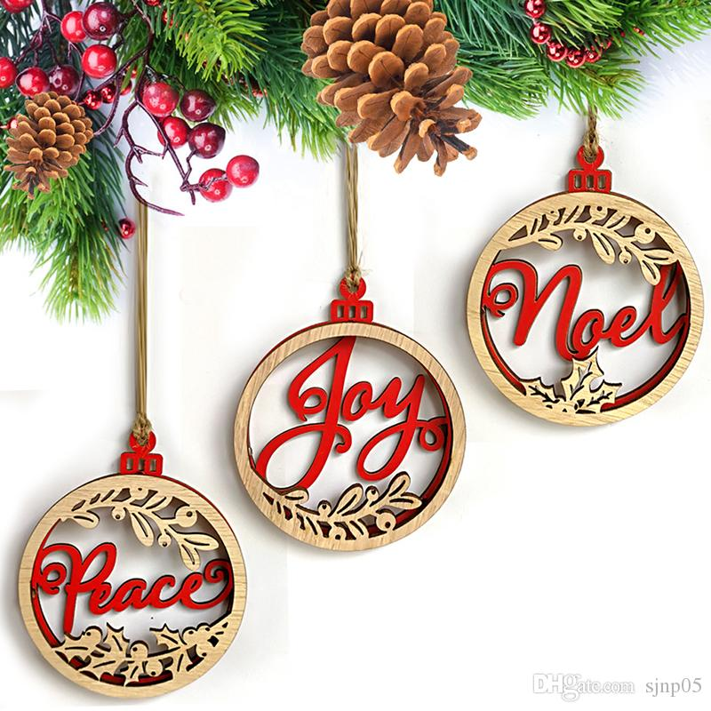 wood christmas ornaments laser cut joy peace letters in wooden circle hanging ornaments christmas tree home decoration set of 3 laser cut christmas