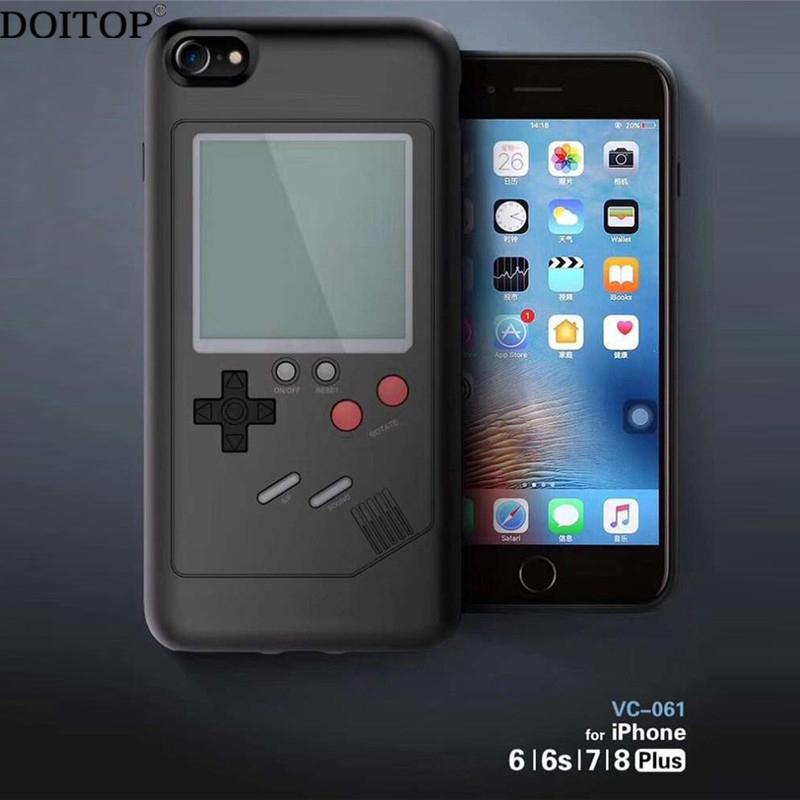 DOITOP Classic Tetris Console Handheld Game Players Multifunction Phone  Case For Iphone 7 8 6 6S Plus Tetris Game Machine
