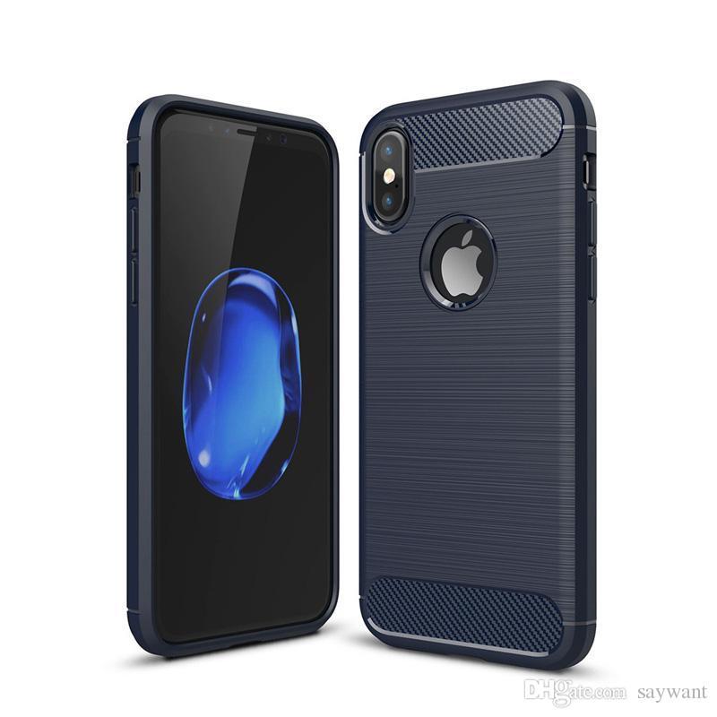 Casos de fibra de carbono à prova de choque para iPhone 11 Pro XS MAX XR 8 7 6 Plus Samsung A10 S20 Ultra Nota 10 Armadura Caso robusto