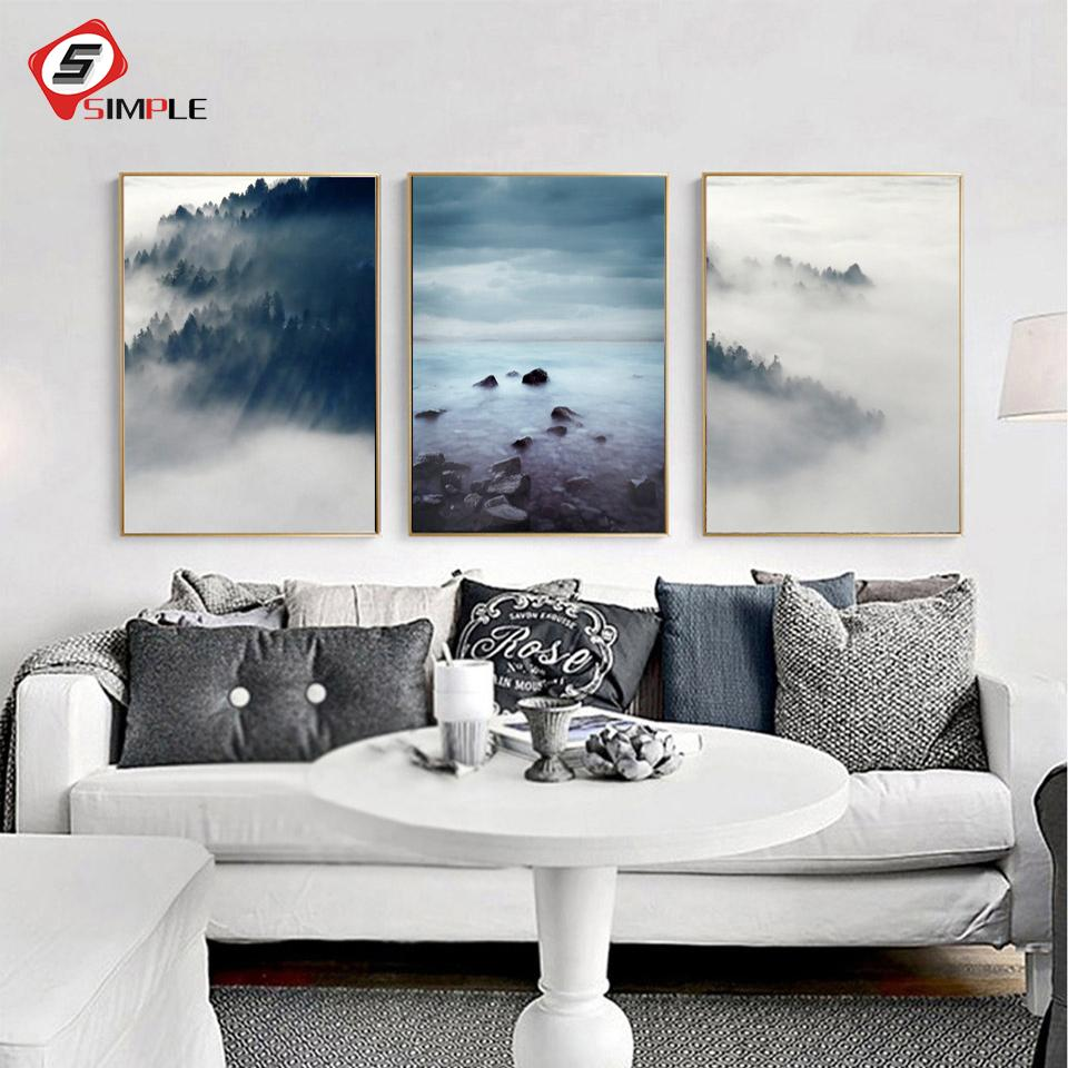 2018 Landscape Poster Scandinavian Canvas Painting Wall Picture For ...