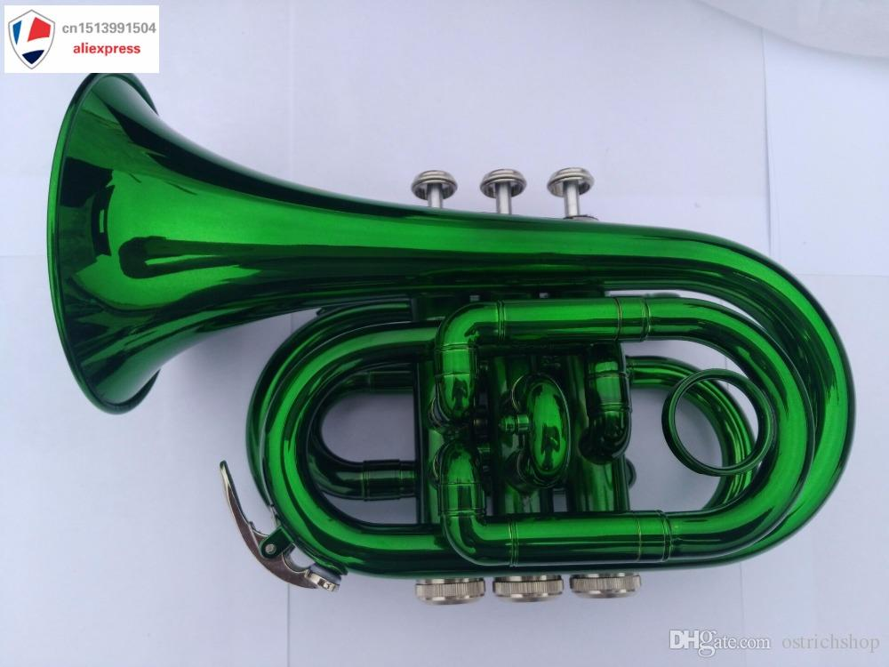 B Flat Green Pocket Trumpet with Case+Mouth Piece;Valve oil;A Pair Of Gloves;Soft Cleaning Cloth NEW 2018