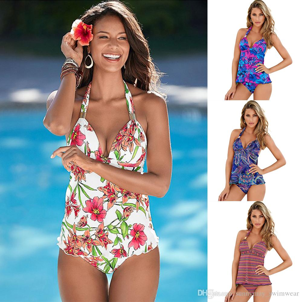 e3078bcd1a 2019 Vintage Two Piece Tankini Set Floral Halter Bandage Backless Swimsuit  Sexy Bikini Swimming Suit For Women Plus Size Swimwear Women 2018 From ...