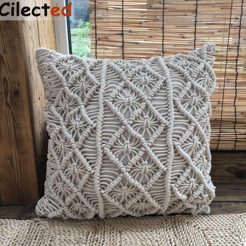 Wholesale 100% Handmade Crocheted Pillow Cover Cotton Cushion Cover ...