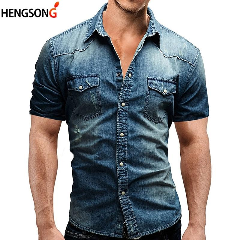 2e6eee5e4d Compre Camiseta Masculina Manga Corta Camisa Denim Hombres Camisa Social  Masculina Slim Fit Camisas De Bolsillo Casual Solid Camisas Hombre A  32.58  Del ...