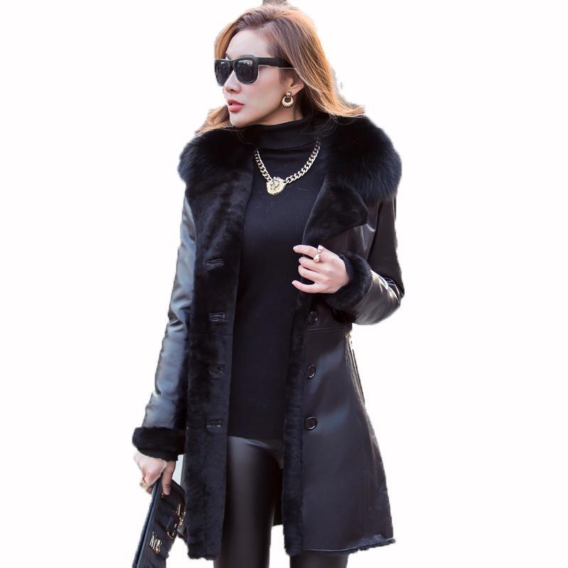 93c6789f3f2 2019 Genuine Leather Jacket Women Down Coat Sheepskin Winter Coat Women  Clothes 2018 Korean Slim Fox Fur Collar Wool Lining ZT691 From Whitecloth,  ...