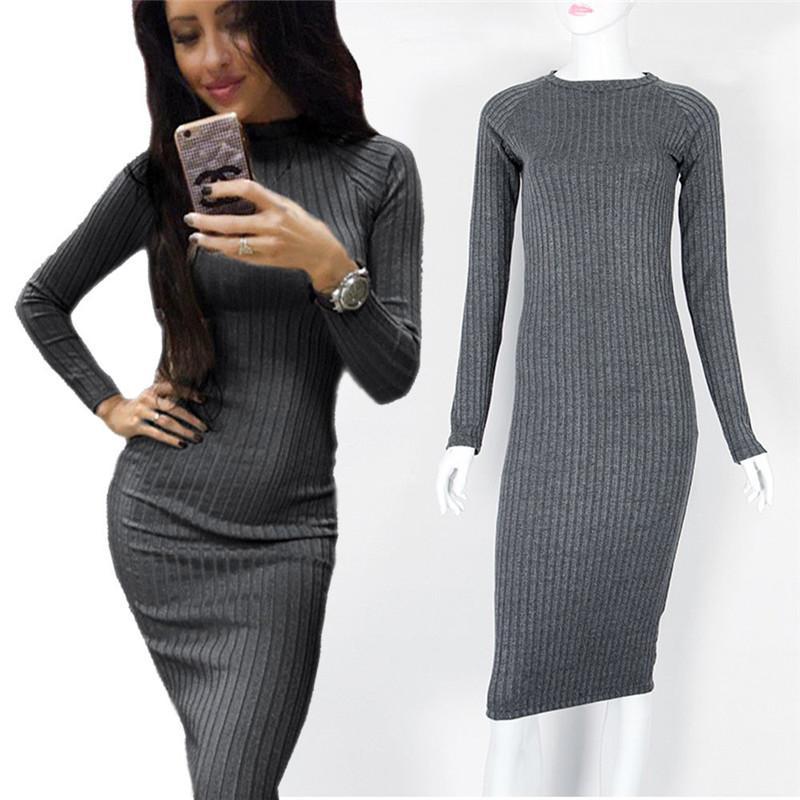 83634a4d4496 Acquista Fashion Women Knitted Lurex Dress Autumn Winter 2018 Bodycon  Maglione Abiti Manica Lunga Matita Midi Dress Le Donne A  38.6 Dal Amandal