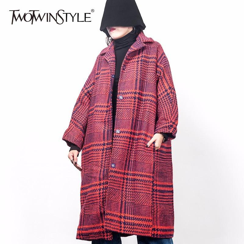67c55313a64b TWOTWINSTYLE Woolen Plaid Tench Coats For Women Winter Big Size Red ...