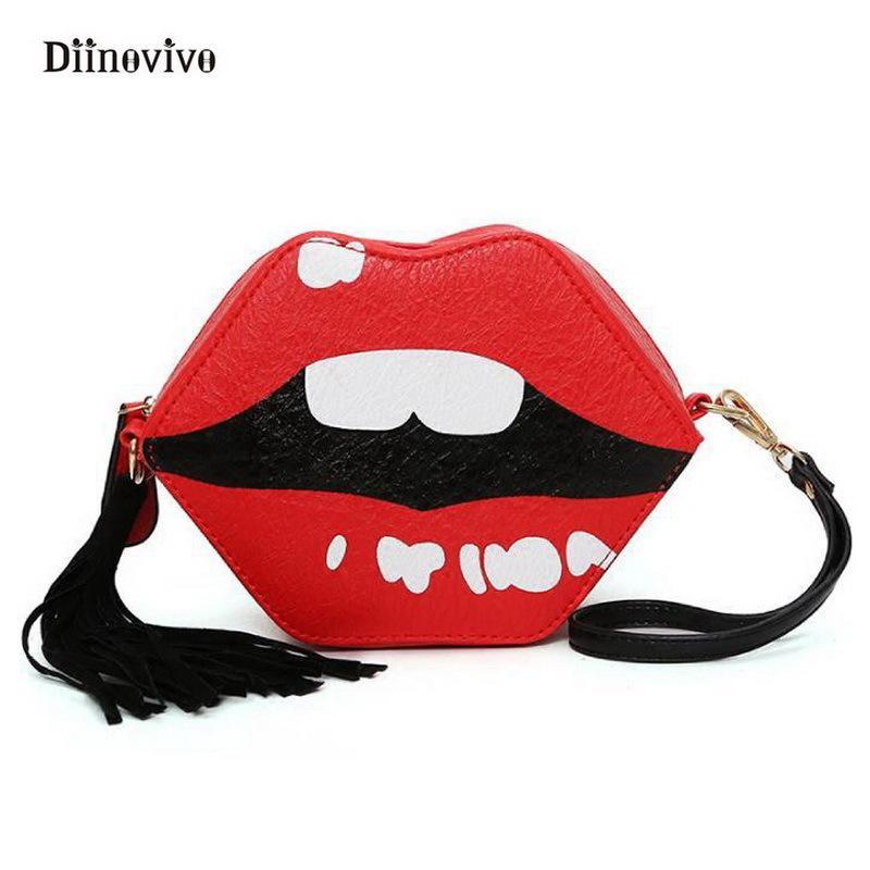 e542926eac 2019 Fashion DIINOVIVO Red Lips Women Handbag Funny Simple Brand Multifunction  Shoulder Bag Luxury Leather Lolita Punk Bags Purse WHDV0188 Cheap Purses ...
