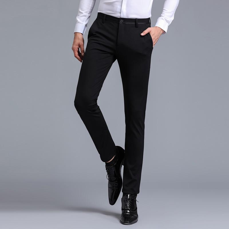 89c25fcdf30 2018 Fashion Business Casual Men s Suit Pants Black Dark Blue Slim Fit  EleTrousers Male Size 29-36