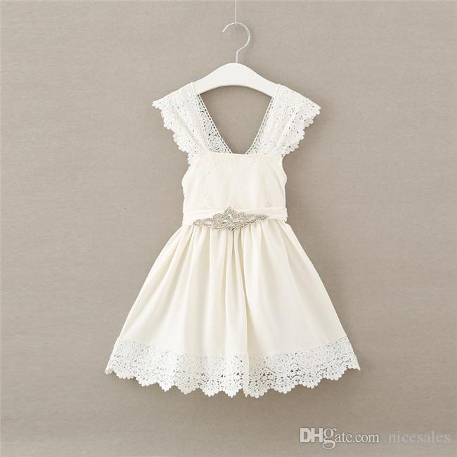2018 New Baby Girl Clothes Princess Dress Clothes Sleeveless Lace Bow Ball Gown Tutu Party Dress Toddler Kids Fancy Dress 2-6Y
