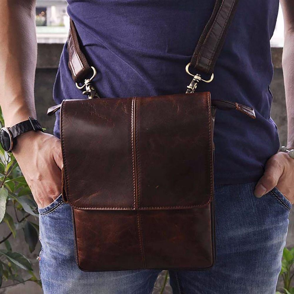 Oil Wax/Crazy Horse Genuine Leather Waist Bag Men Hip Loops Belt Purse Multifunction Vintage Male Messenger Crossbody Bags