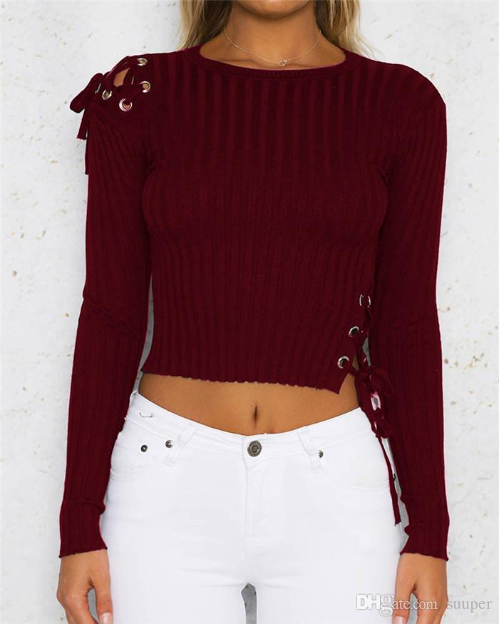 d6fdf82ccd 2019 Wine Red Knitted Sweater Crop Top Women Lace Up Sexy Hollow Out  Shoulder Long Sleeve Bandage Bodycon Skinny Tee Tops 2018 Spring Autumn  From Suuper
