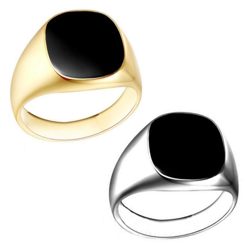 561b8b4f355 Size 7 12 Vintage Men Jewelry Stainless Steel Ring Fashion Minimalist  Design Plated Gold Black Enamel Mens Rings Wholesale Diamond Bracelet  Aquamarine Rings ...