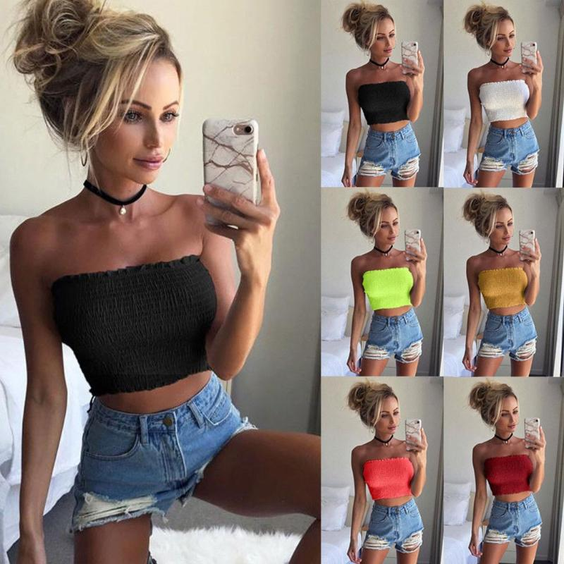 4b8f44be9e 2019 Women Off Shoulder Elastic Tube Tops Bra 2018 New Sexy Female Tops  Blouse Strapless Shirt Solid Sleeveless Summer Tube From Honjiao