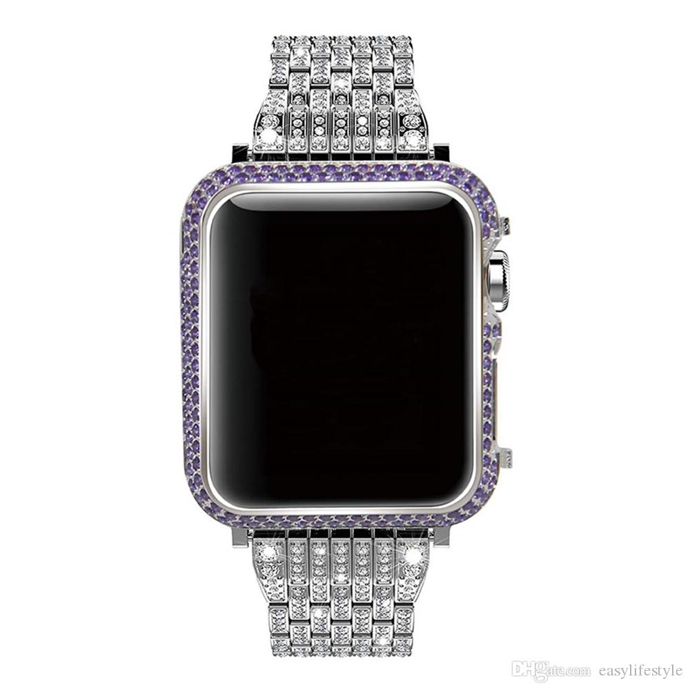 the latest c9357 e21a0 Sparkling purple Crystal Diamond silver Case Cover Bezel for apple watch  series 3 2 1 38mm 42mm pink orange hot pink too