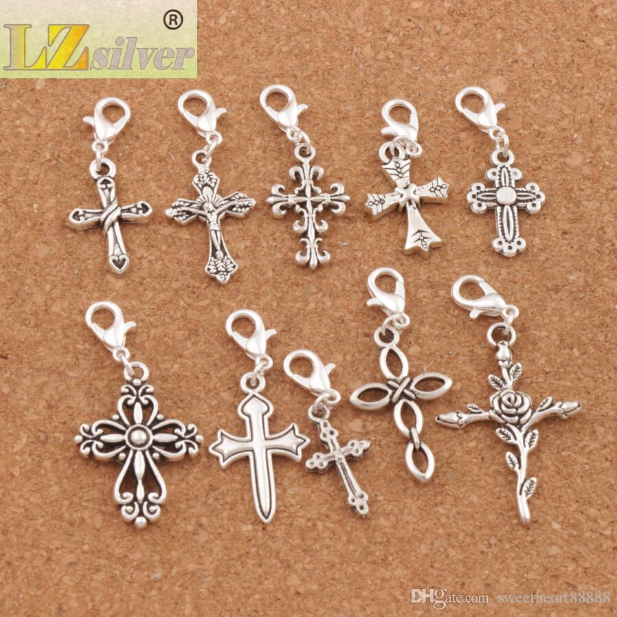 100 pz / lotto Croce Gesù Aragosta Artiglio Catenaccio Perle di Fascino Tibetano Argento Galleggiante Bracciale Fit Risultati Componenti CM28