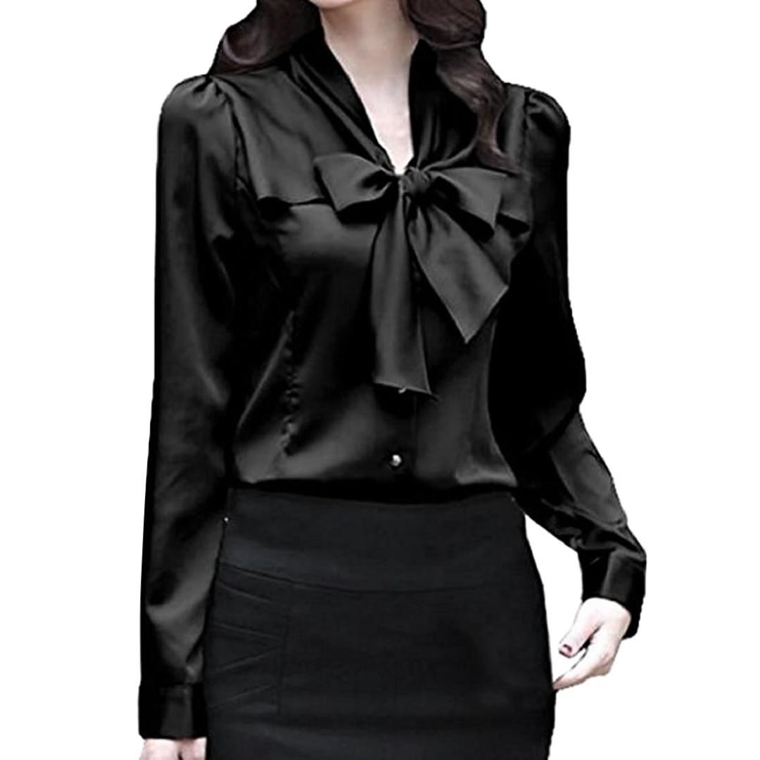 72474bdde 2019 2018 New Satin Shirt Women Long Sleeve Bow Collar Silk Solid Blouses  Women Work Wear Uniform Office Lady Shirt Simple Body Tops From Bishops, ...