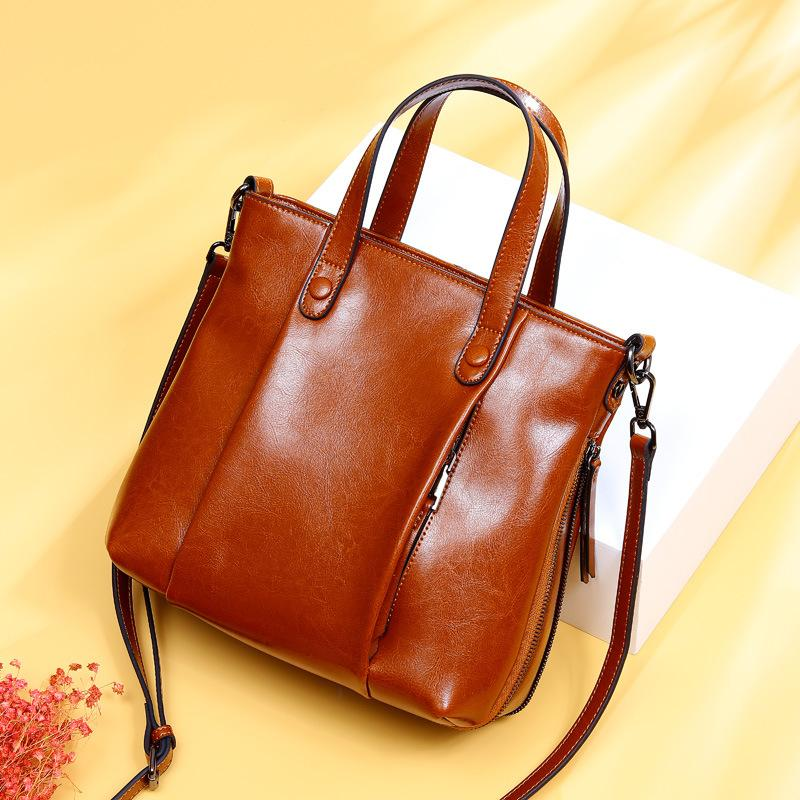 f55bbd02be Soft Oil Wax 100% Genuine Leather Woman Handbag Tote Crossbody Bag Women  Shoulder Bag Elegant Ladies Office Luxury Designer Italian Leather Handbags  Luxury ...