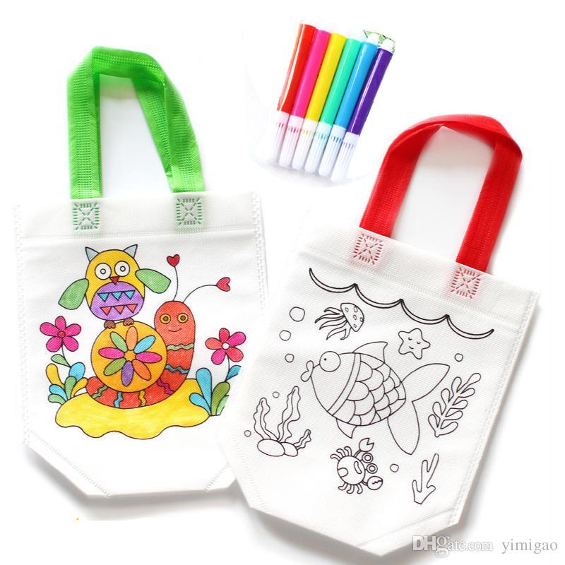 6fc8047d6 Compre Dibujo De Bricolaje Craft Color Bag Niños Que Aprenden Los Juguetes  Educativos Del Dibujo Con La Pluma Segura De La Acuarela Para Los Regalos  Del ...