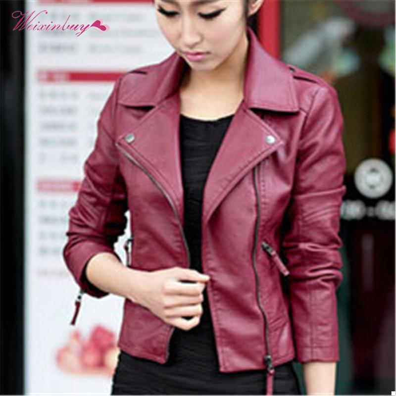 ec439e82b169 2019 Autumn Women Casual Motorcycle PU Leather Jacket Long Sleeve ...